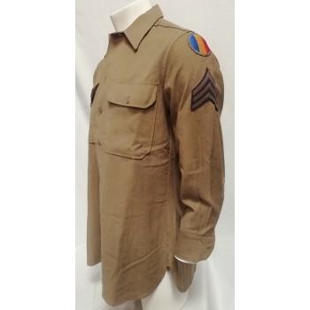 CHEMISE LAINE D'UN SERGENT US ARMY 2ème GM. WW2 US ARMY WOOL SHIRT