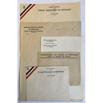 LOT DE DOCUMENTS FORCES FRANCAISES DU SUD-OUEST POCHE DE ROYAN 1944-45