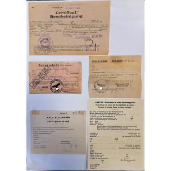 LOT DE 5 DOCUMENTS CERTIFICAT AUSWEIS OCCUPATION ORGANISATION TODT 1940-1944 GUERANDE SETE ZONE COTIERE