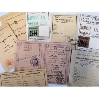 LOT DE DOCUMENTS AUSWEIS OCCUPATION SUD-EST MARSEILLE BOUCHES-DU-RHONE 1940-1944